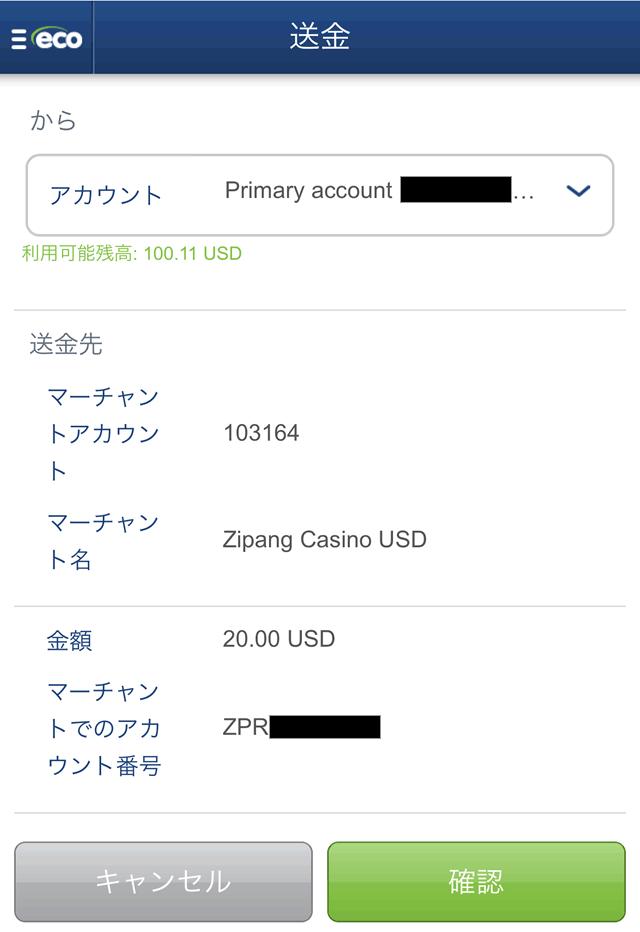 エコペイズからの入金情報確認画面